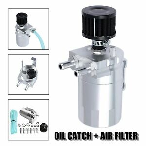 Cylinder Aluminum Engine Oil Catch Can Tank Reservoir Breather W Filter Kit