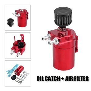 Red Oil Catch Can Tank Reservoir Breather Cylinder Aluminum Engine W Filter Kit