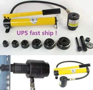 10t Hydraulic Knockout Punch Driver Kit 6 Die Conduit 1 2 To 2 Hole Punch Tool