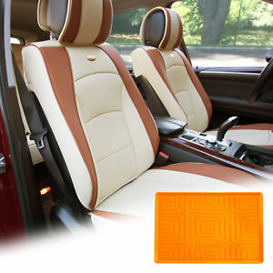 Pu Leather Seat Cushion Covers Front Bucket Beige W Orange Dash Mat For Auto