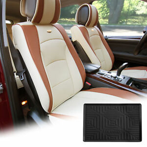 Pu Leather Seat Cushion Covers Front Bucket Beige W Dash Mat For Suv