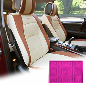 Pu Leather Seat Cushion Covers Front Bucket Beige W Dash Mat For Car