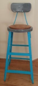 Vintage Industrial Metal Stool Upcycled 40 Inches Tall