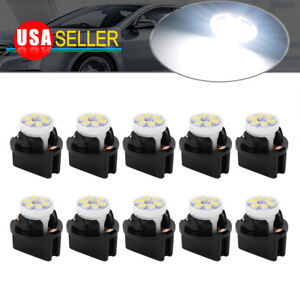 10x White Pc194 Instrument Panel Cluster T10 Led Light Bulb Dashboard Sockets