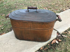 Old Revere Unpolished Copper Boiler Wash Tub Red Wooden Handles Free S H
