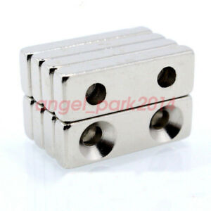 30mmx10mmx 5mm Block Strong Rare earth Neodymium Magnets N50 Countersunk 4mm