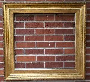 Antique 19c Large Victorian Gilt Gold Sand Molding Frame 23 5 X 25 5 In Fit