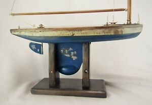 Antique English Model Sailboat Or Pond Yacht W Brass Fittings On Stand C 1920 S