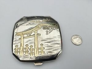 Vintage Japanese Solid 950 Sterling Silver Compact Case Gorgeous 97 2 Grams