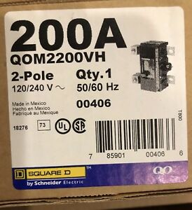New Square D Main Breaker 200amp Qom2200vh