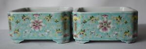 A Pair Of Antique Chinese Famille Rose Enameled Porcelain Planters 20th Century