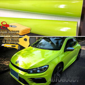 24 X 60 Gloss Neon Green Yellow Vinyl Film Wrap Air Bubble Free 2ft X 5ft