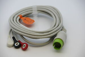 Ecg ekg 1 Piece Cable With 3 Leads Spacelabs Ultraview Monitor New Us Seller