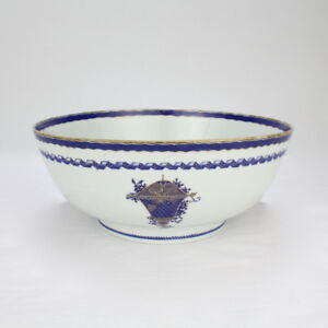 Antique 18th Century Chinese Export Porcelain Punch Bowl W Old Staple Repair Pc