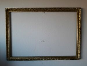 Antique 1880s Large Wood Gold Gilt Gesso Picture Mirror Frame 44 1 2 X 31 1 2