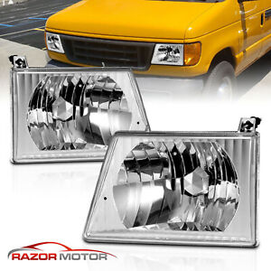 1992 2004 Chrome Headlights Pair For Ford Econoline Van E150 E250 E350 E450