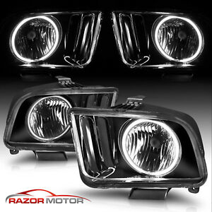 2005 2009 Black Ccfl Halo Headlights Lamp Pair For Ford Mustang V6 V8 W Bulb