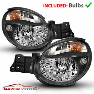 2002 2003 Black Headlight Pair For Subaru Impreza Wrx Outback Gd Bug Eye W Bulbs