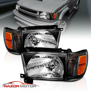1996 1998 Black Glass Headlight Corner Light Pair For Toyota 4runner W Bulb