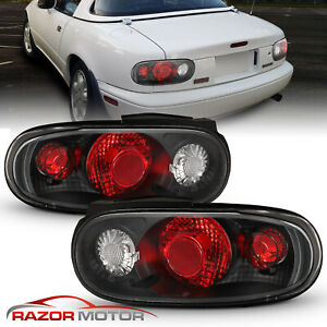 1990 1997 Black Brake Tail Lights Pair For Mazda Miata Mx 5 Se Le M Sto
