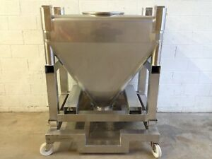 Gei Gallay Hopper Tote Tank Forklift Ready With Cart 316 Stainless Steel