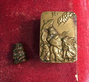 Small Chinese Brass Box With Tiny Solid Copper Buddha Antique