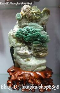 Natural Dushan Jade People Old Man Kid Mountain Tree House Boat Dragon Shanzi