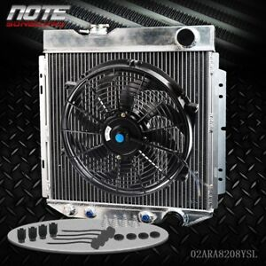 Aluminum Racing Radiator 14 Fan For 64 66 Mustang 2 8 4 7 V8 6cyl At mt