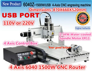 4 Axis 6040 1 5kw Vfd Milling Engraver Drilling Machine Cnc Router Kit 110v 220v