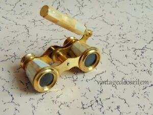 Collectible Antique Old Mother Of Pearl Brass Opera Glasses Binoculars New Gift