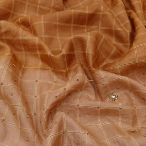 Vintage Saree Indian Pure Khadi Silk Hand Beaded Craft Deco Fabric Sari Psk1002
