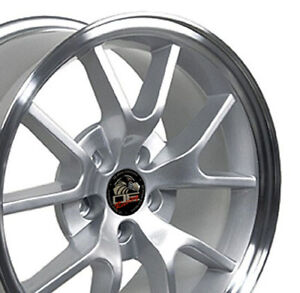 18x9 Rims Fit Mustang Fr500 Style Wheels Silver Mach D Set