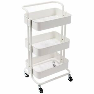 3 Tier Metal Utility Cart Rolling Organizer Storage W Wheels White Durable New