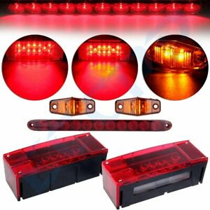 Submersible Trailer Rectangle Led Tail Light Kit 15 brake Light Bar side Marker