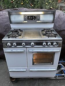 Vintage 1959 Wedgewood Holly 36 W 4 Burner Gas Stove W Griddle And Rotisserie