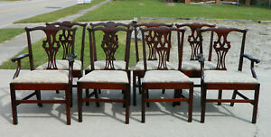 Set Of 8 Straight Leg Chippendale Dining Chairs 2 Arm 6 Side Turn Of Century