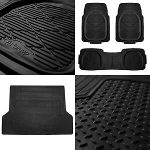 4pc All Weather Floor Mats Cargo Set Black Tough Rubber Deep Dish For Car