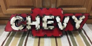 Chevy Chevrolet Metal Decor Pub Vintage Style Garage Man Cave Weld Car Truck