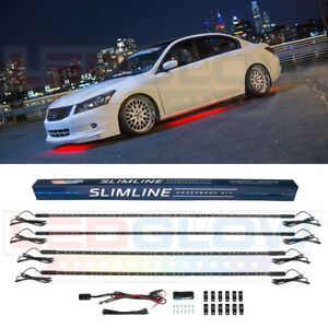 4pc Red Slimline Led Underbody Under Glow Light Car Kit W Solid Illumination