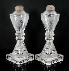 Pair Early Sandwich Lamps Pressed Stepped Base Blown And Etched Font 11921