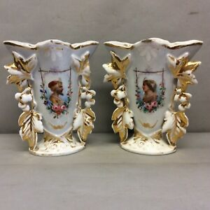 Pair Of Paris Porcelain Portrait Vases 10 5
