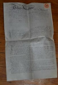 1889 English Parchment Vellum Indenture With Wax Stamps Seals Surrey London