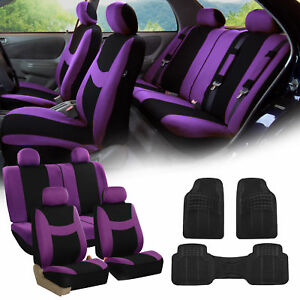 Purple Black Car Seat Covers Full Set For Auto W 4 Headrests Rubber Floor Mats