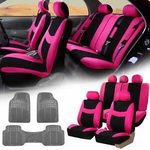 Pink Black Car Seat Covers Full Set For Auto W 5 Headrests Rubber Floor Mat