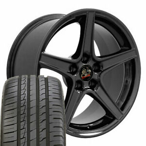 18x9 Wheels Tires Fit Ford Mustang Saleen Blk Rim Ironman W1x