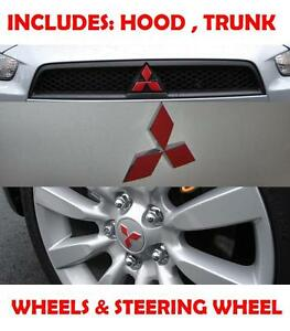 2010 2011 Mitsubishi Lancer Hood Trunk Steering Wheel Emblem Red Black Sticker