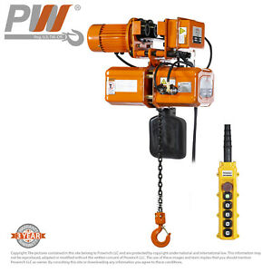 Prowinch Electric Chain Hoist Power Trolley 1 Ton 20 Ft Chain 110 220v