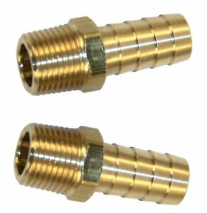 2 Brass 3 8 Npt Male X 3 8 Hose Barb Fitting Fuel Air Water Transmission