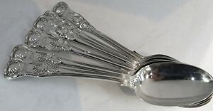 English Kings Pattern Sterling Silver Spoons 8 Long Searle Co Set Of 6