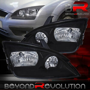 For 2005 2006 2007 Ford Focus Black Headlights Headlamps Euro Style Clear Lens